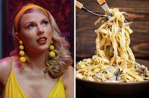 Taylor Swift in the lover music video and a bowl of seafood pasta