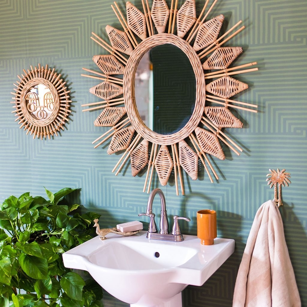 light and dark sage green geometric stripe patterned wallpaper