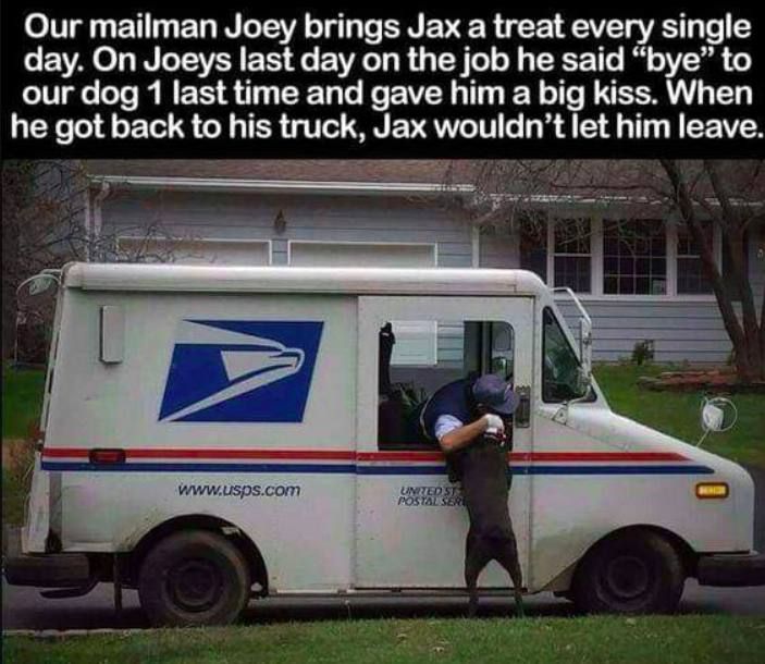 picture of a mailperson hugging a dog