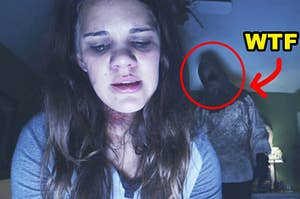 A girl talking to a webcam but a terrifying figure is behind her