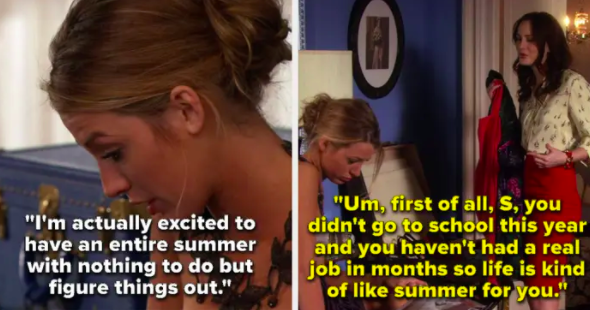 Serena says she's excited to have summer to just figure things out, Blair reminds her she hasn't gone to school or had a job in forever