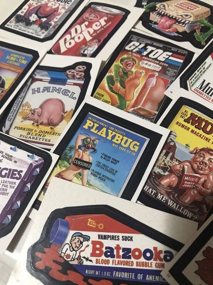 A bunch of Wacky Packages stickers.