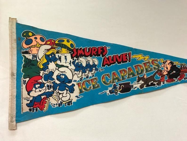 A Smurfs Ice Capades flag pennant.