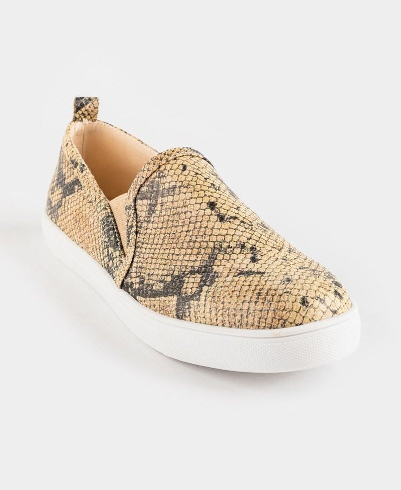 tan and grey faux snakeskin slip on sneakers