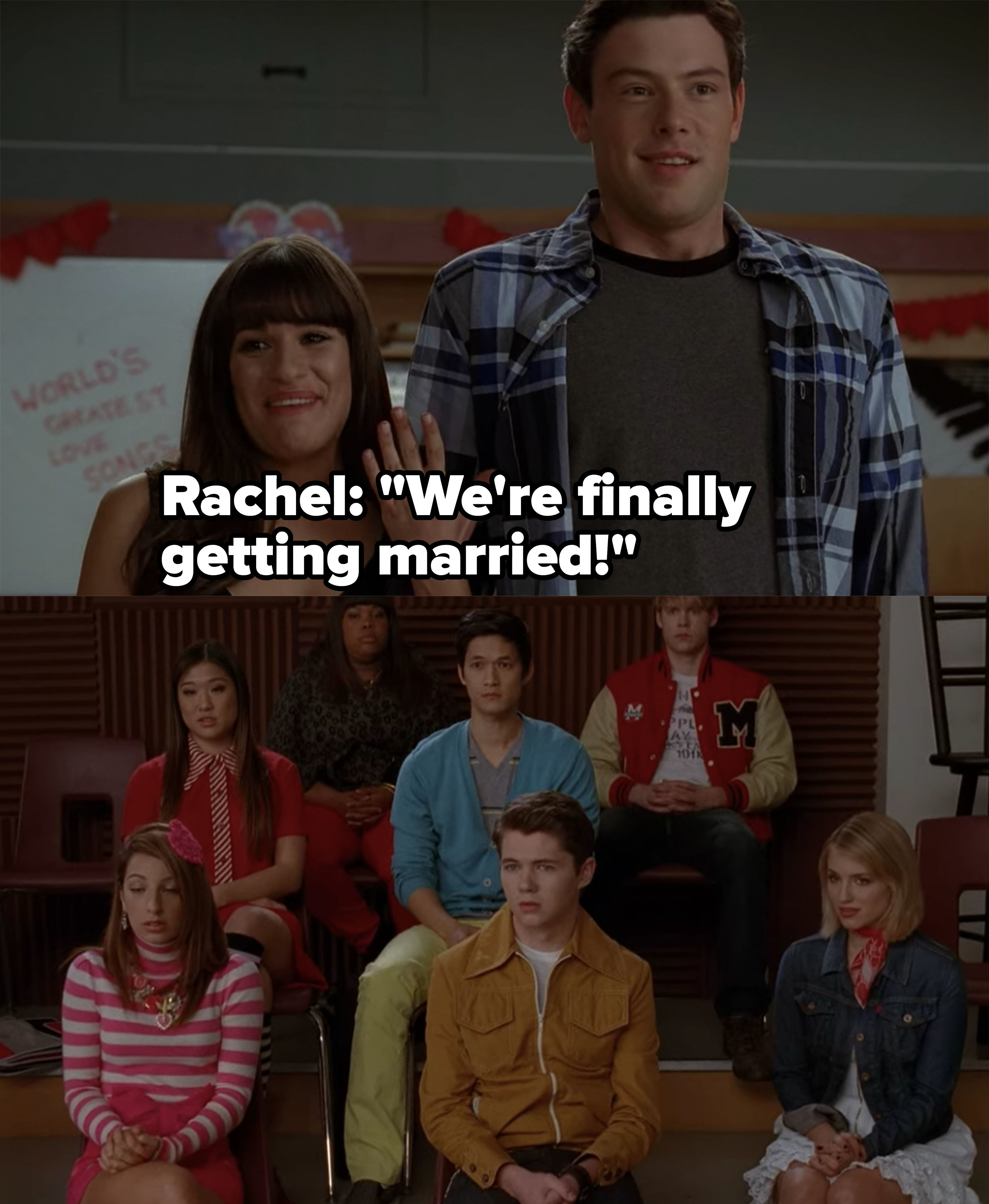 """Rachel tells the Glee club she and Finn are """"finally getting married,"""" everyone just stares awkwardly"""