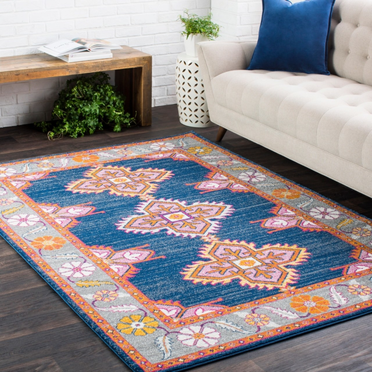 blue, great, pink and yellow floral and geometric patterned rug
