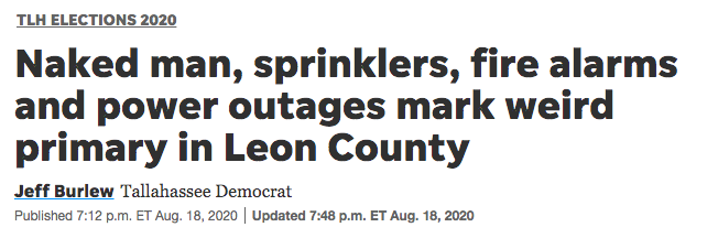 Naked man, sprinklers, fire alarms and power outages mark weird primary in Leon County