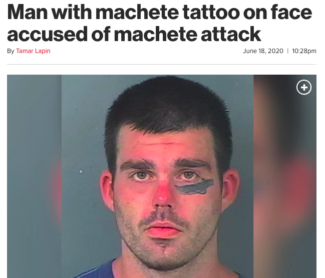 Man with machete tattoo on face accused of machete attack