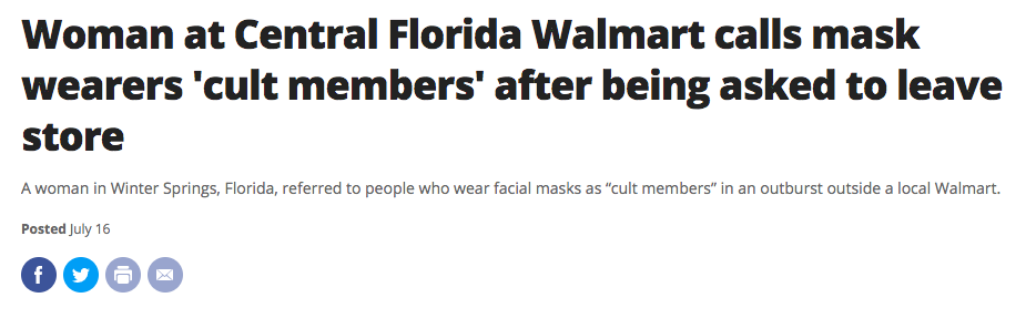Woman at Central Florida Walmart calls mask wearers 'cult members' after being asked to leave store