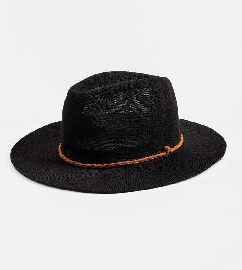 a black hat with a brown braided suede band