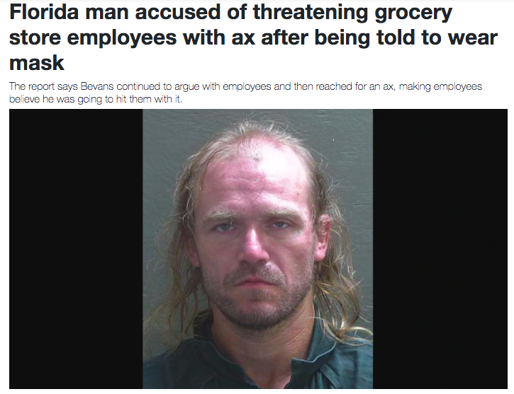 Florida man accused of threatening grocery store employees with ax after being told to wear mask