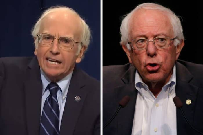 "Larry David as Bernie Sanders on ""SNL"" and Bernie Sanders at a political event"