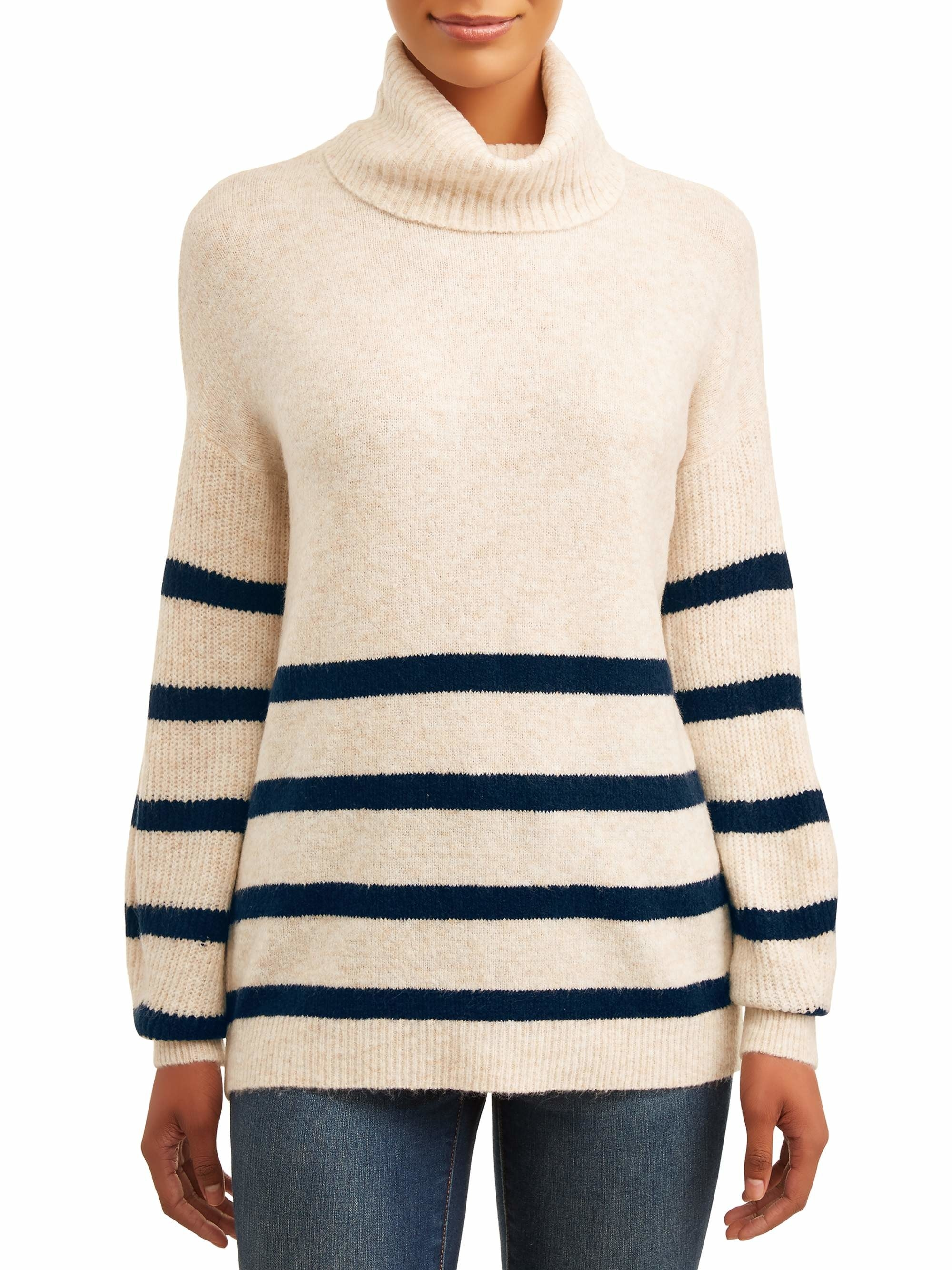 An oatmeal heather sweater with blue horizontal stripes and a turtle neck