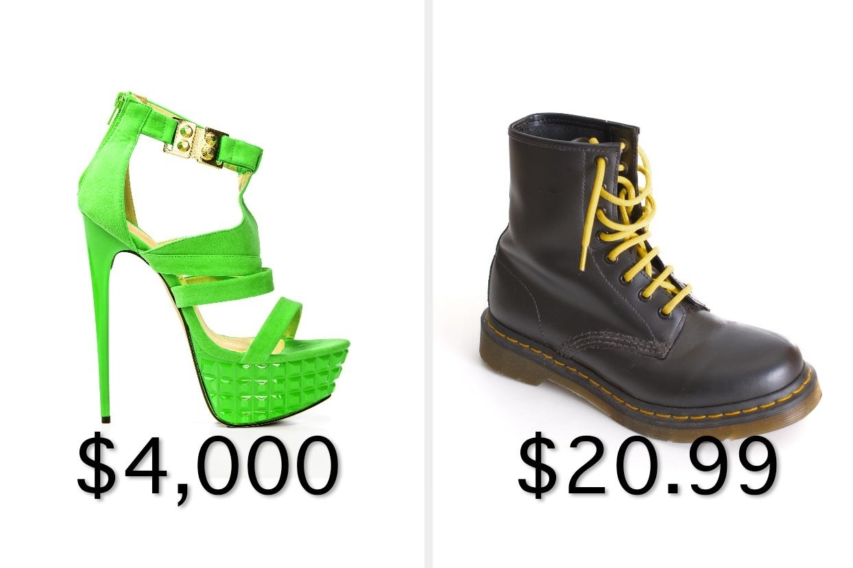 A green stiletto and a black lace-up combat boot