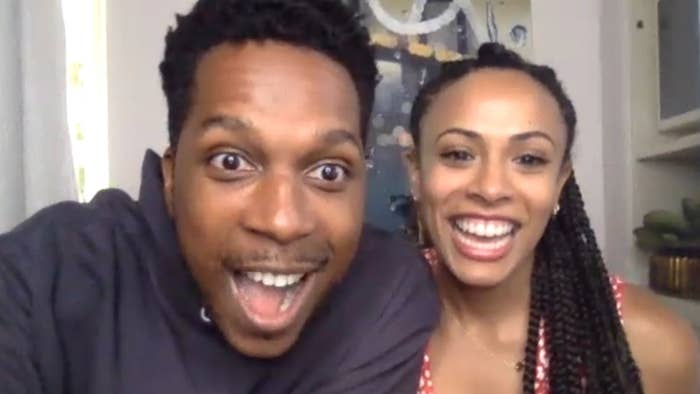 Leslie Odom Jr. and Nicolette Robinson looking excitedly into the camera.