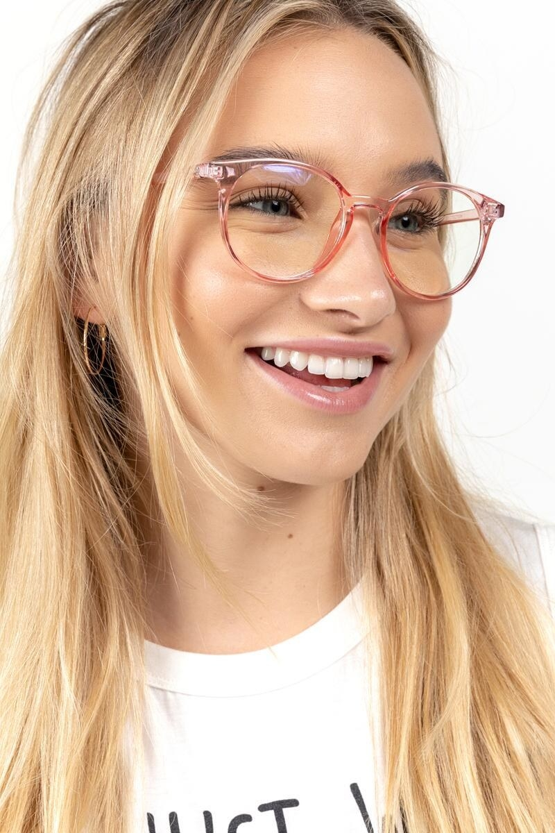 a model in pink acrylic glasses
