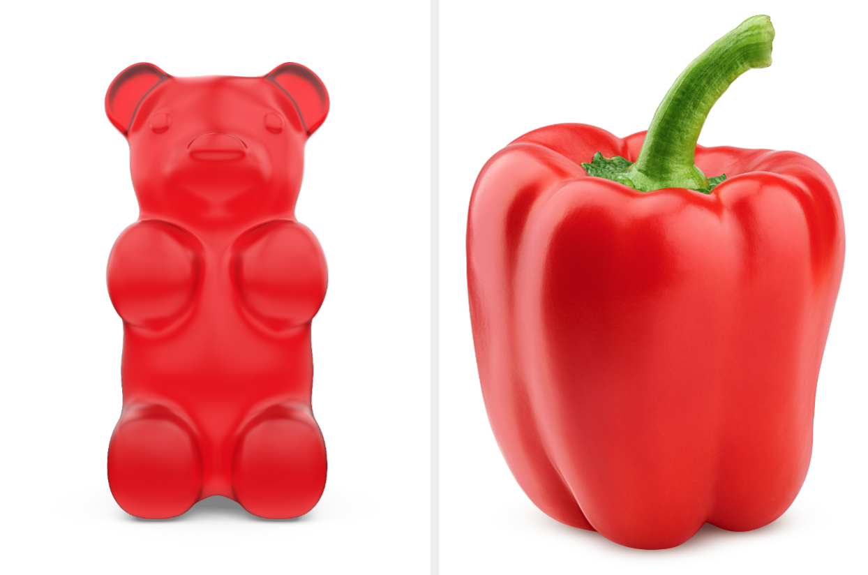 Red gummy bear and red pepper