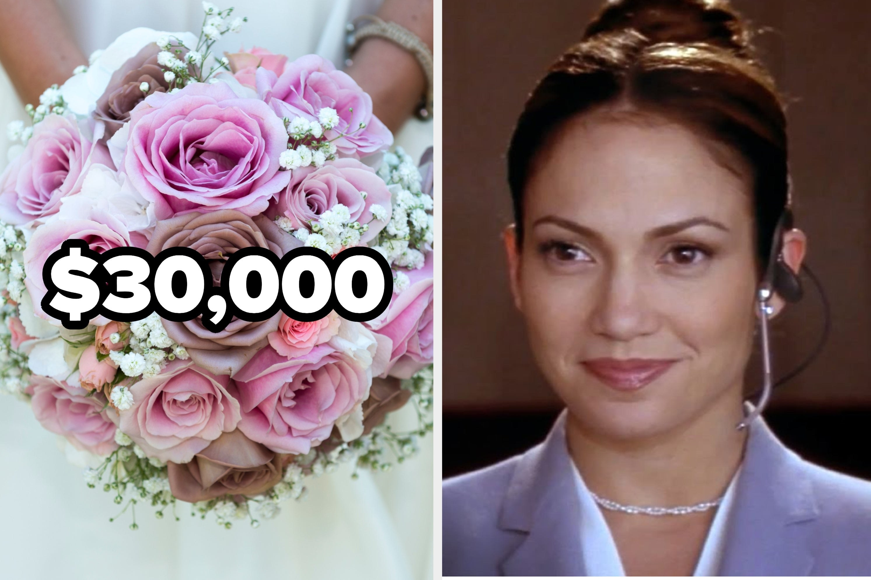 """A wedding bouquet with the number $30,000 over it and Jennifer Lopez from """"The Wedding Planner"""""""