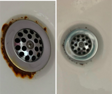 reviewer's pic of rust around sink drain then it free of rust after using the product