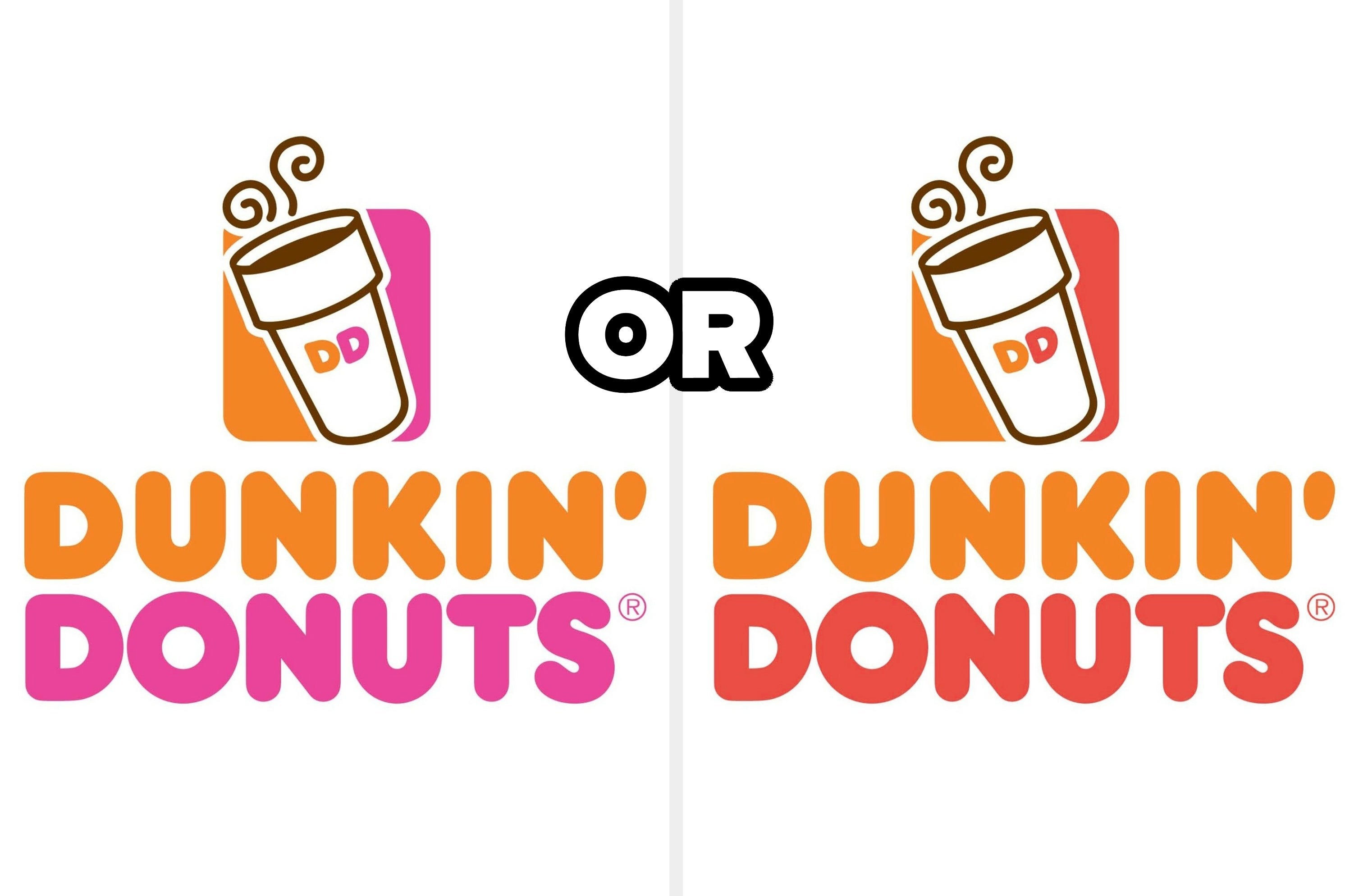 Dunkin' Donuts logo in pink and orange and in red and orange