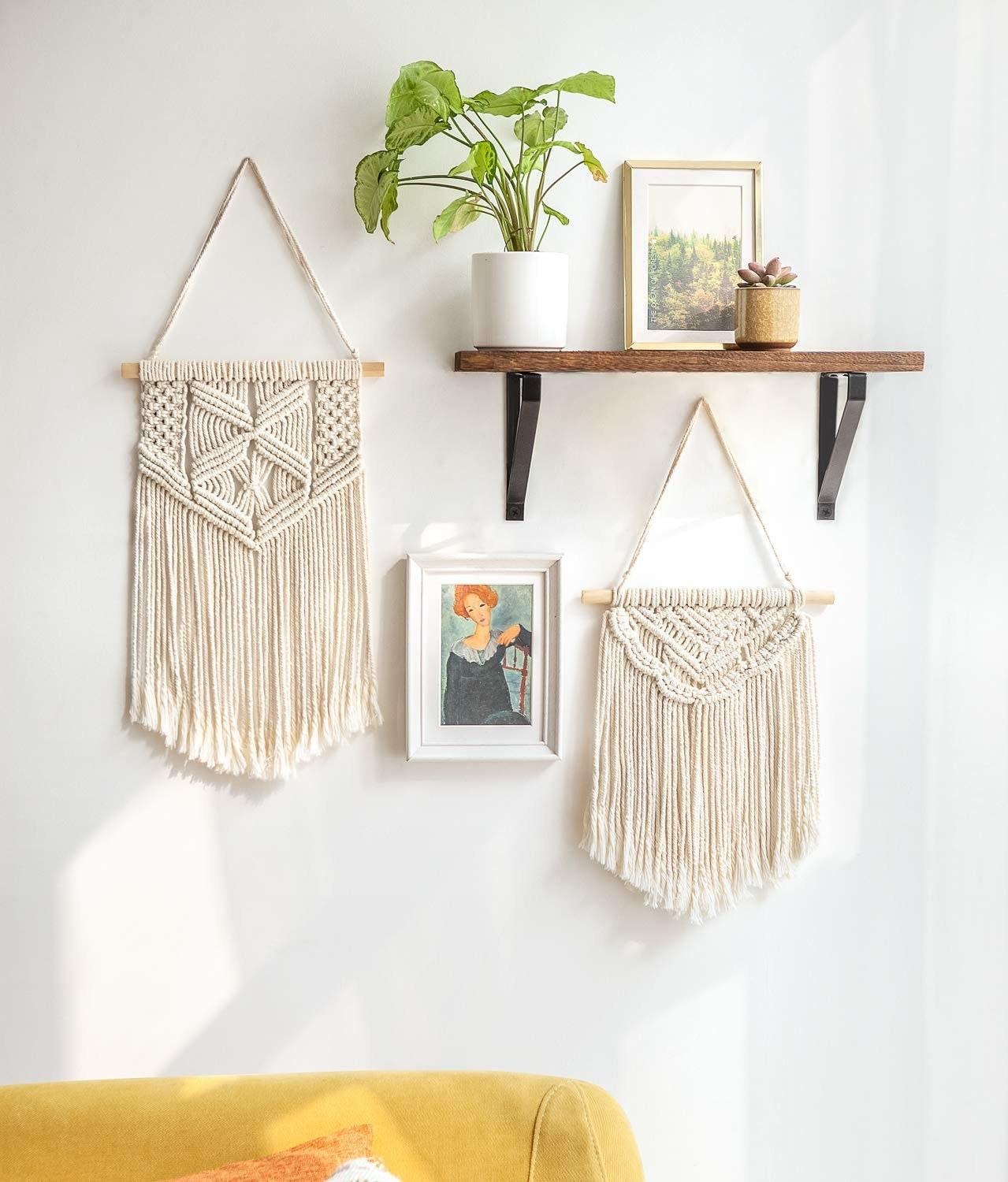 two small macrame tapestries on gallery wall