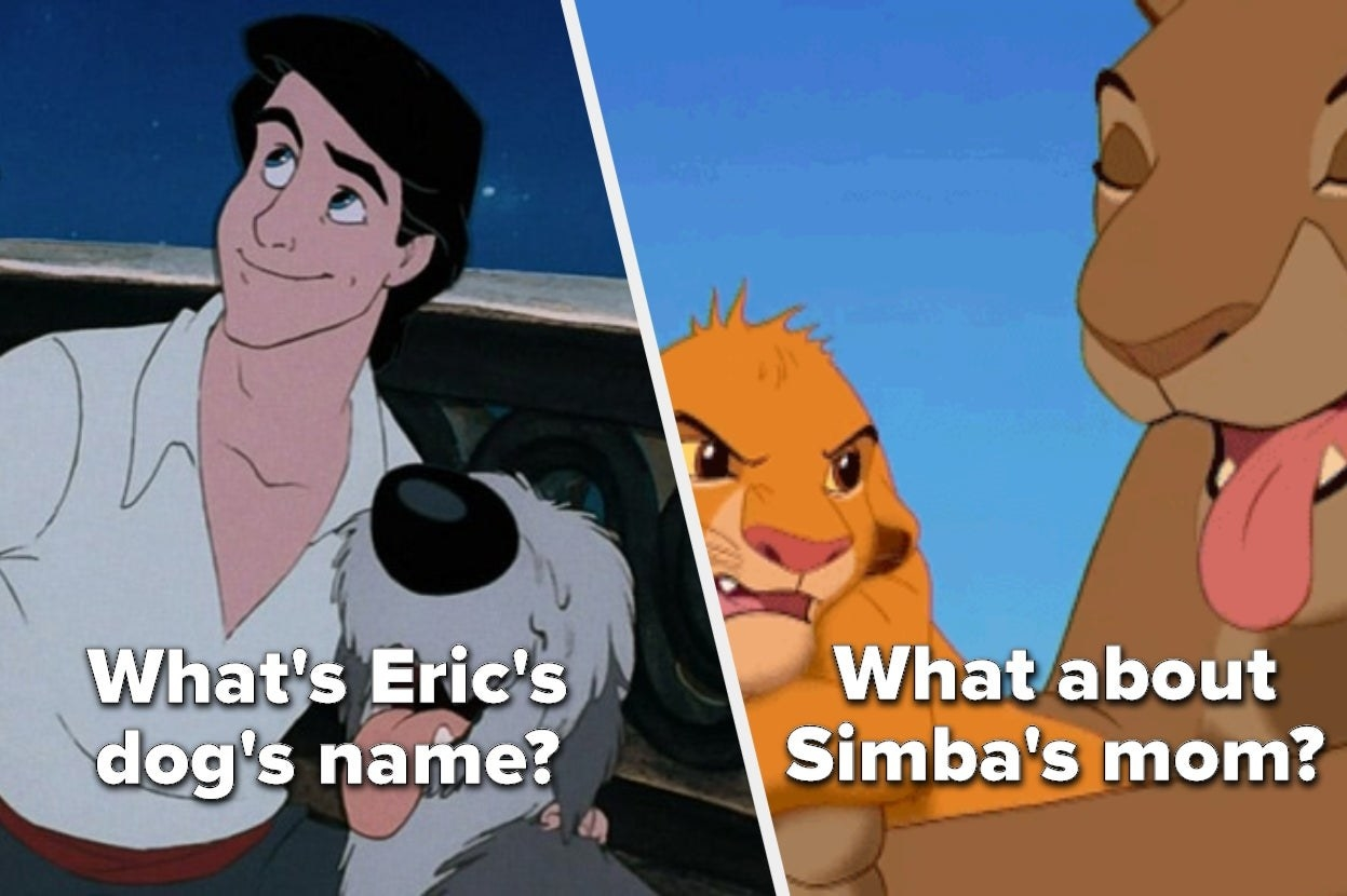 """Prince Eric from """"The Little Mermaid"""" with the words """"What's Eric's dog's name?"""" and Simba and Sarabi from """"The Lion King"""" with the words """"What about Simba's mom?"""""""
