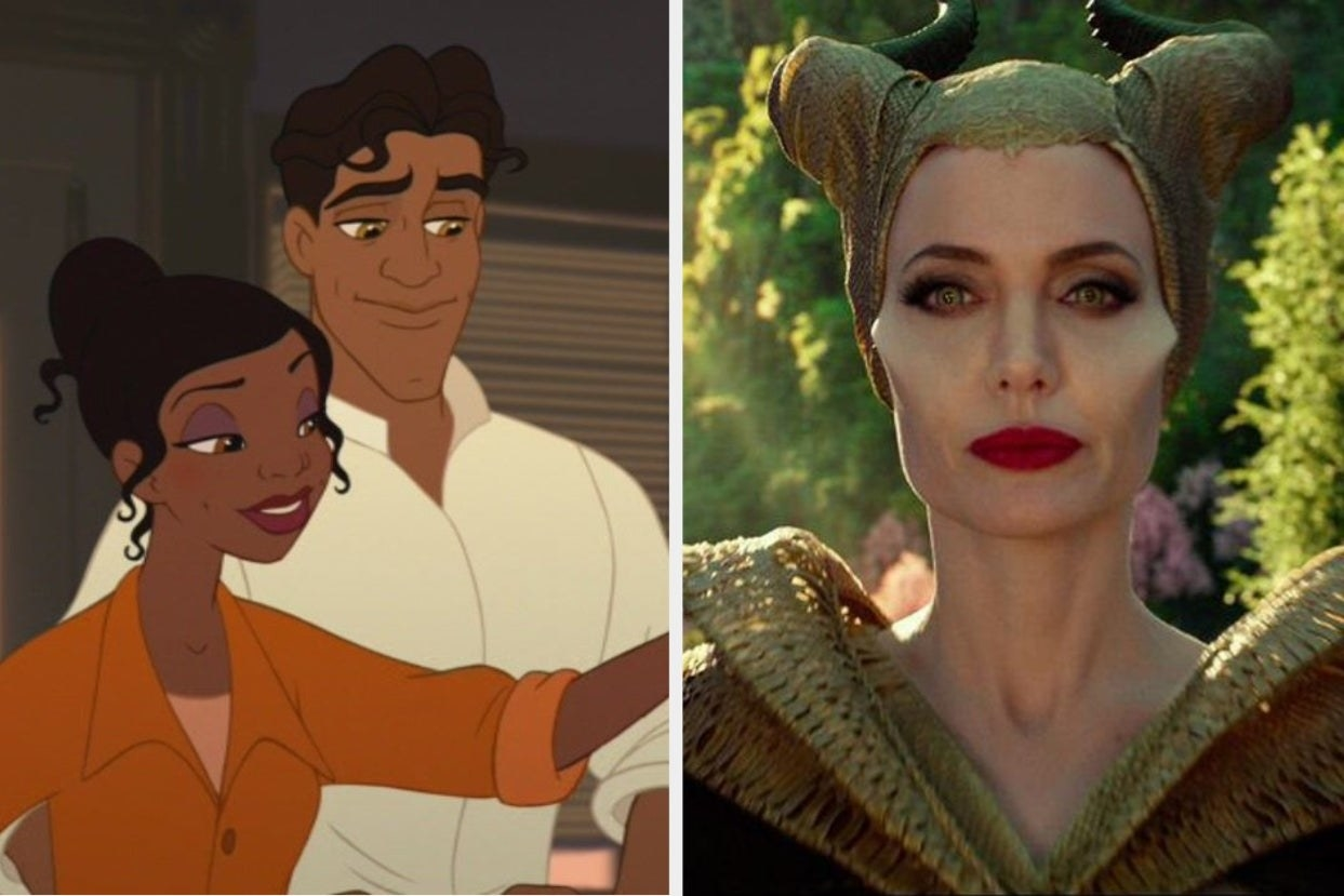 """Tiana and Prince Naveen from """"The Princess and the Frog"""" and Maleficent from """"Maleficent"""""""