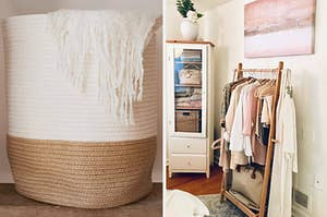 left, cotton rope basket, right, clothing rack