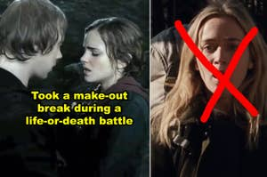 Side-by-side of Ron/Hermione making out during the Battle of Hogwarts, plus the mom in A Quiet Place as her son's being killed