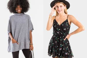to the left: a model in a mock neck poncho, to the right: a model in a black romper