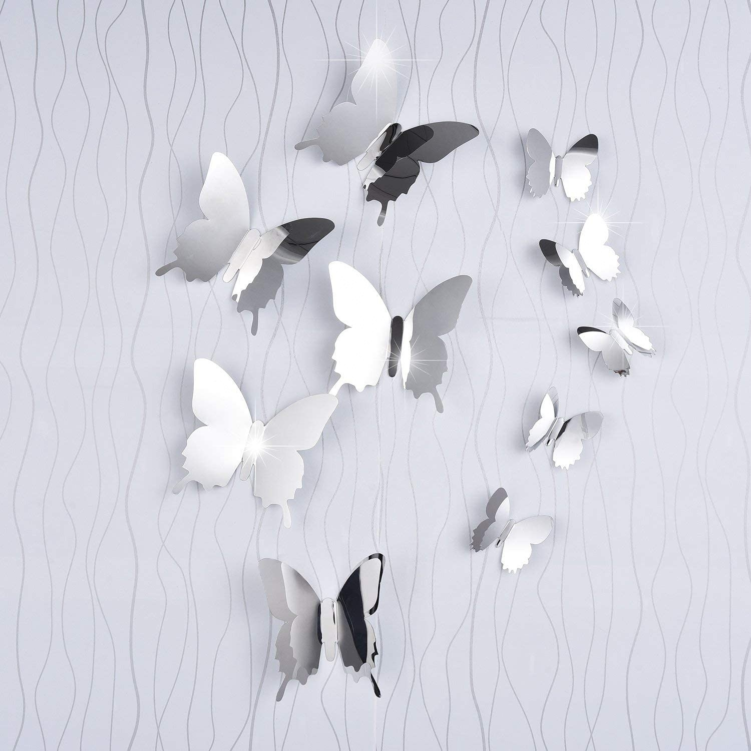 mirror 3D butterfly decorations on the wall