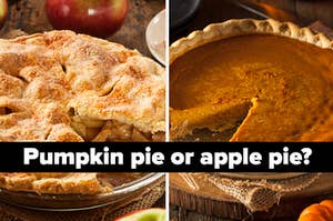 Two images of delicious looking apple and pumpkin pies