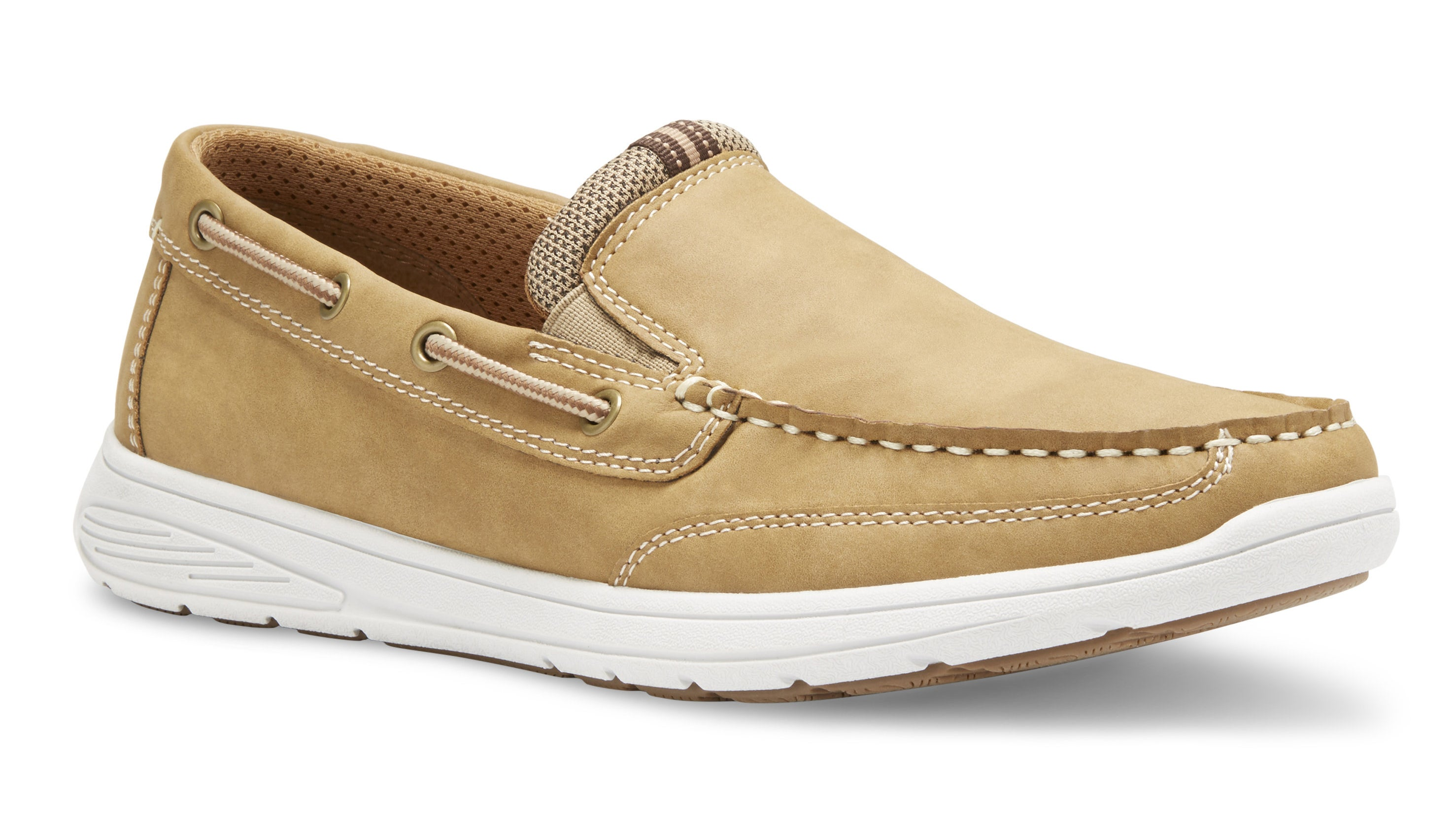 a men's khaki slip-on shoe
