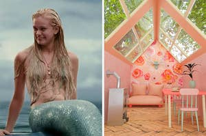 "On the left, Sara Paxton as the mermaid Aquamarine in the movie ""Aquamarine,"" and on the right, a little cabin in the woods with a skylight with floral wallpaper and a small table and couch"