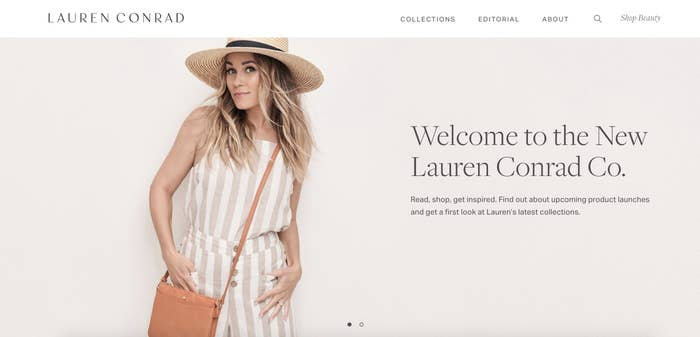 Lauren Conrad's website homepage