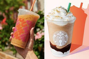 Someone is holding a Dunkin' iced coffee on the left with a Starbucks mocha frap on the right