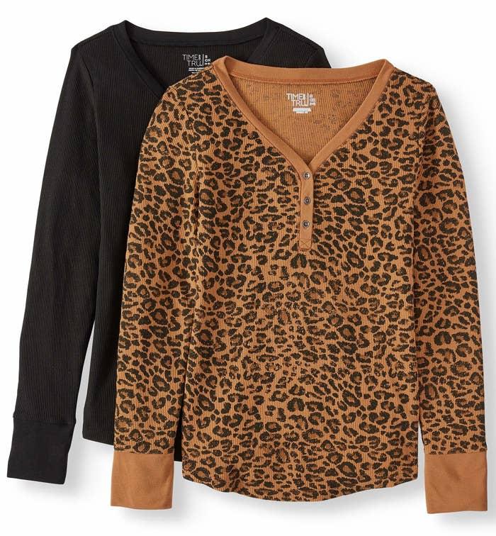One black henley shirt and one leopard print henley shirt.