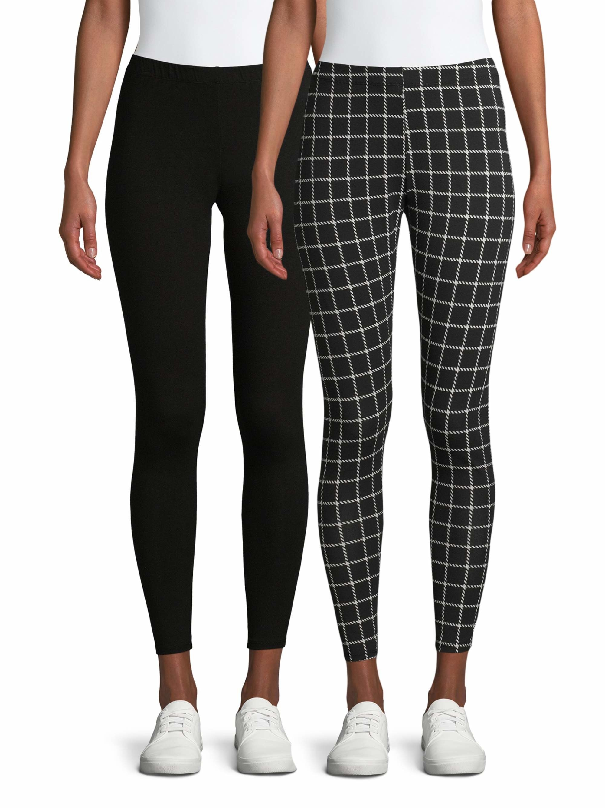 Model wearing black leggings and model wearing black and whit gingham leggings