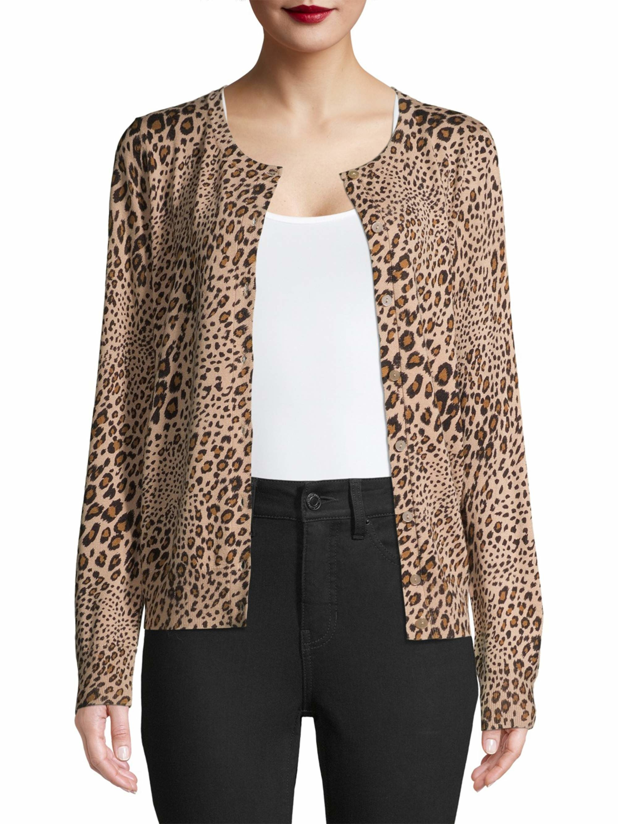 Model wearing leopard print cardigan.