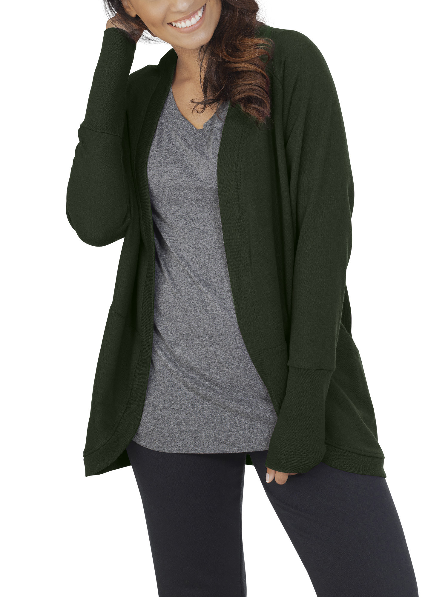 Model wearing green cardigan.