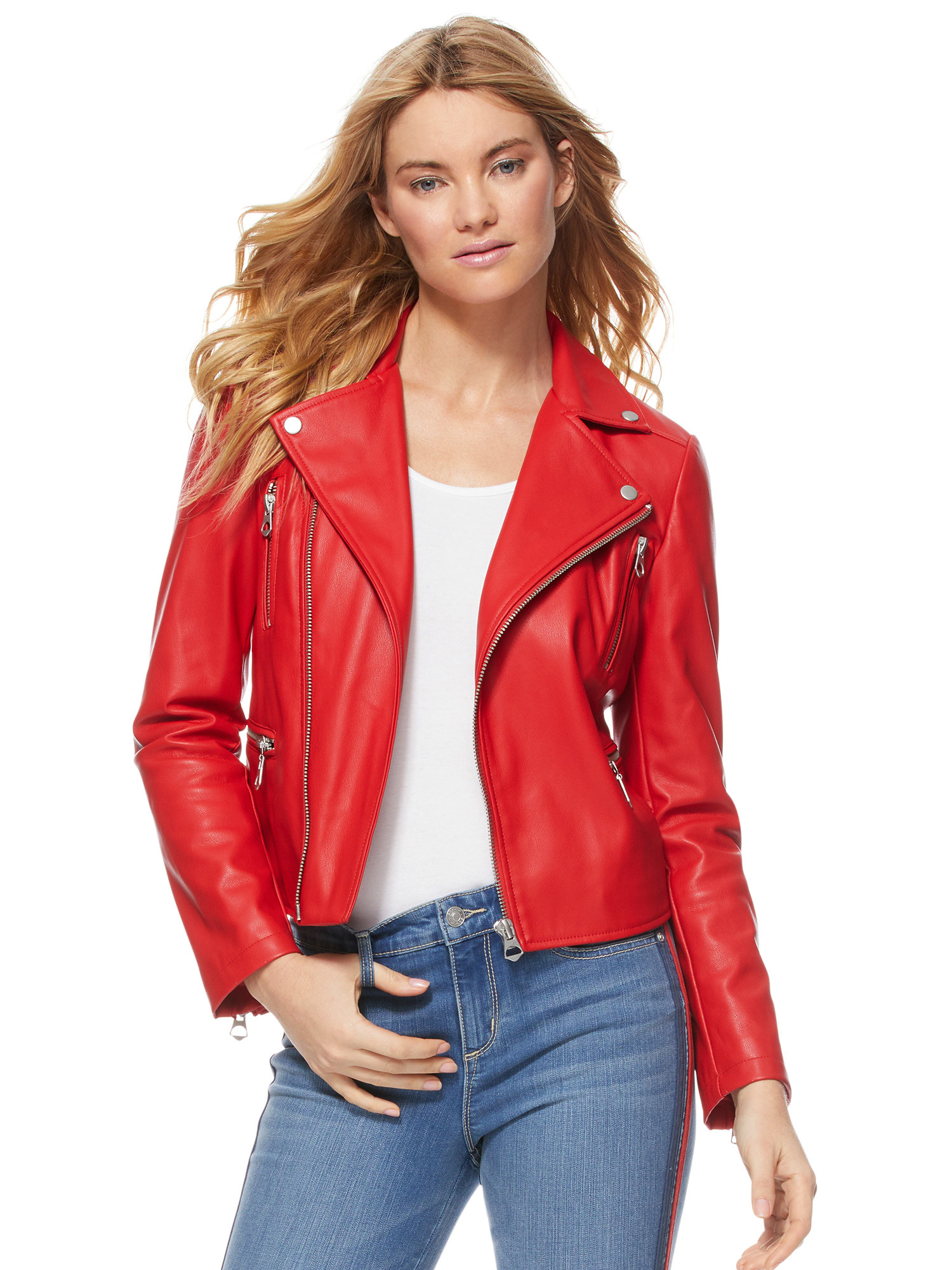 Model wearing red motto jacket with silver detailing
