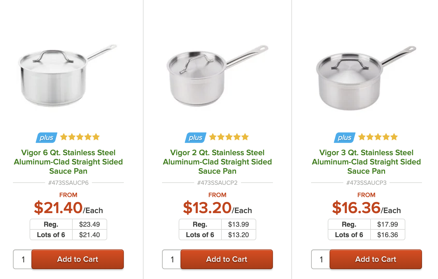 A screenshot of pans for sale at an online kitchen supply retailer.