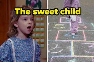 """There's a child on the left singing with another playing hopscotch labeled, """"the sweet child"""""""
