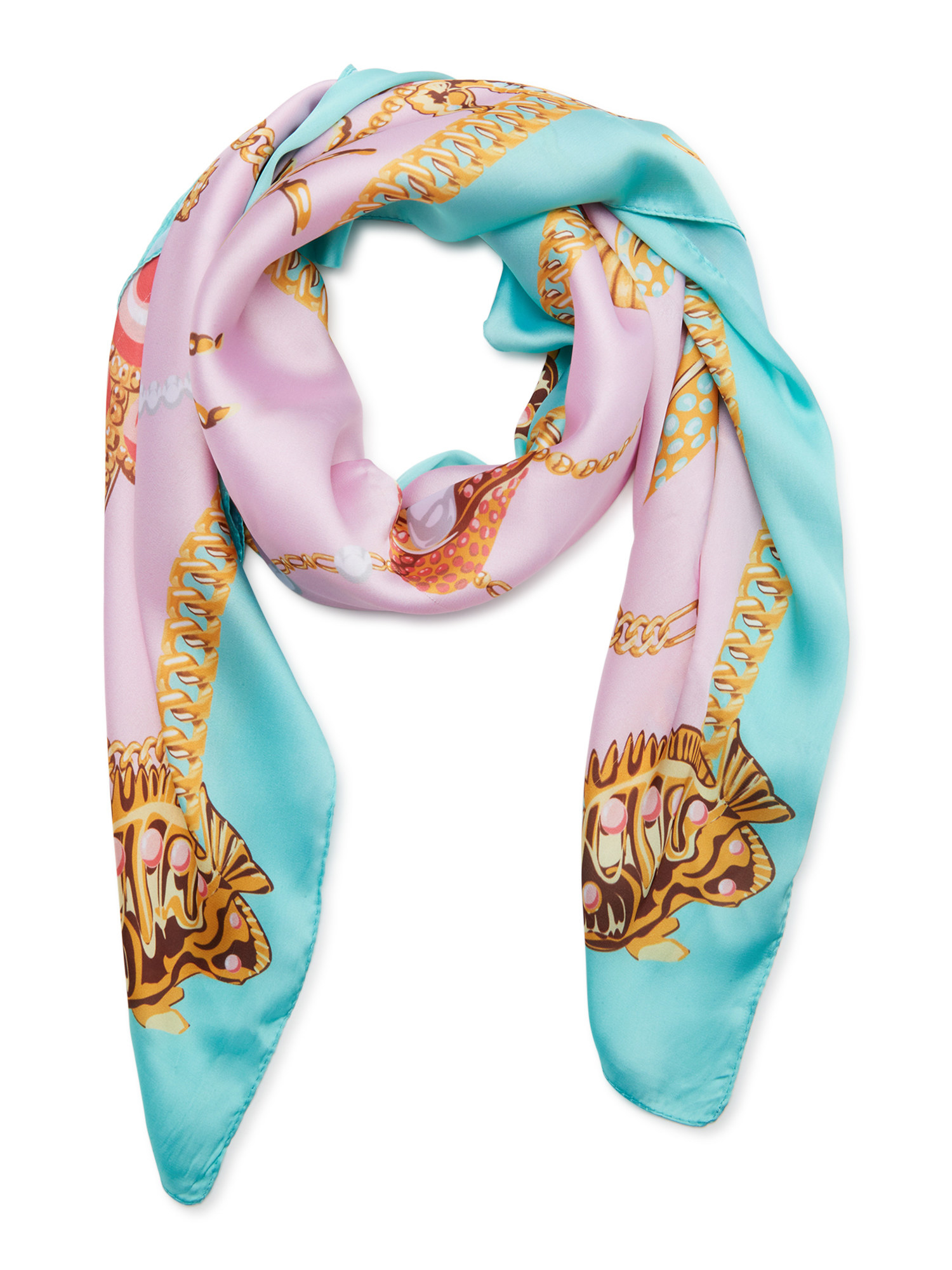 Pink, blue, and gold scarf.