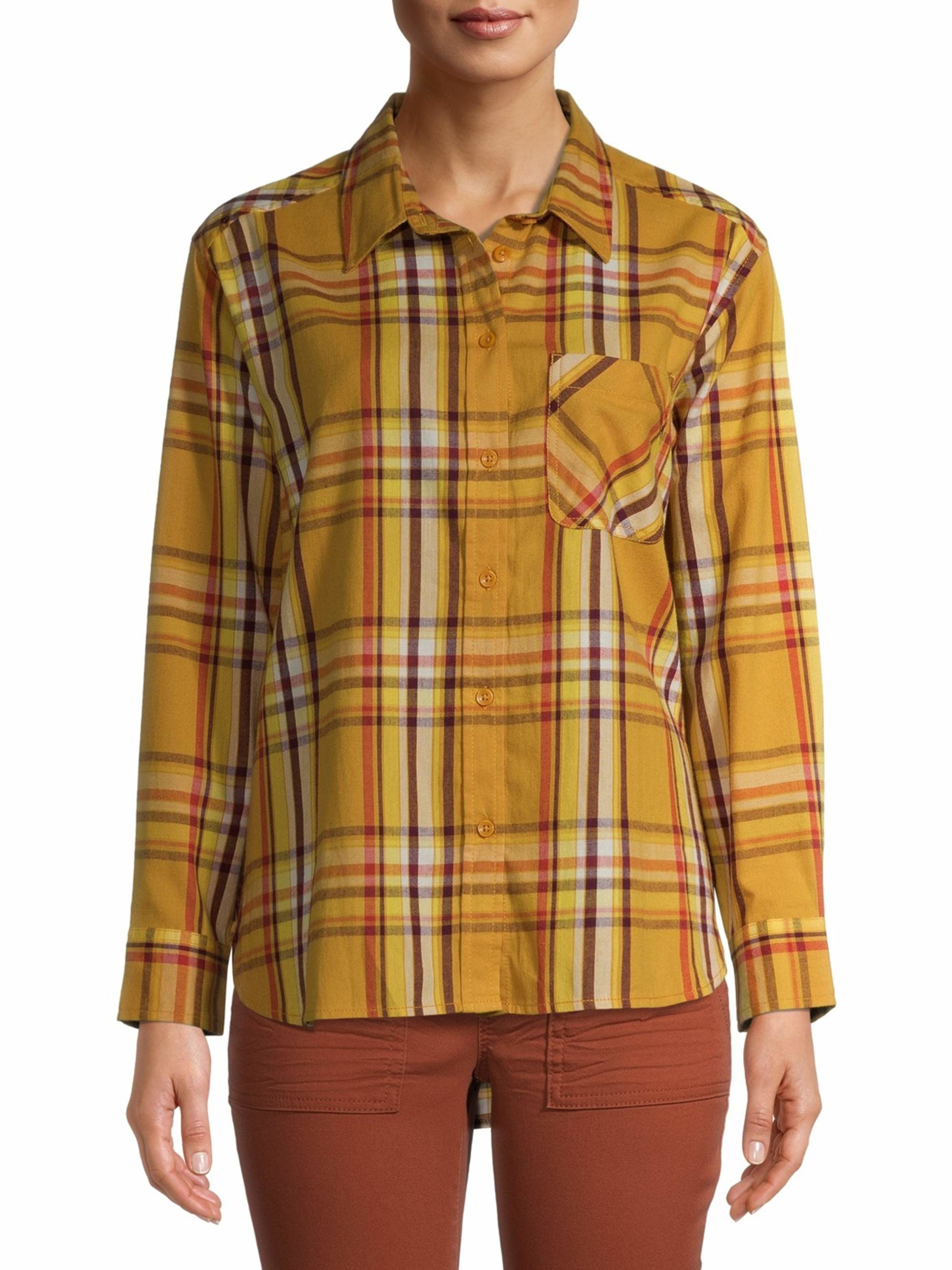 Model wearing yellow plaid top