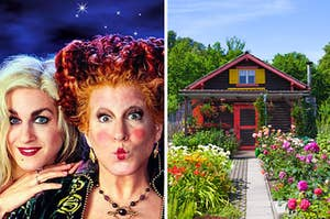 """Winifred and Sarah from """"Hocus Pocus"""" are on the left making funny faces with a small cottage in a garden on the right"""