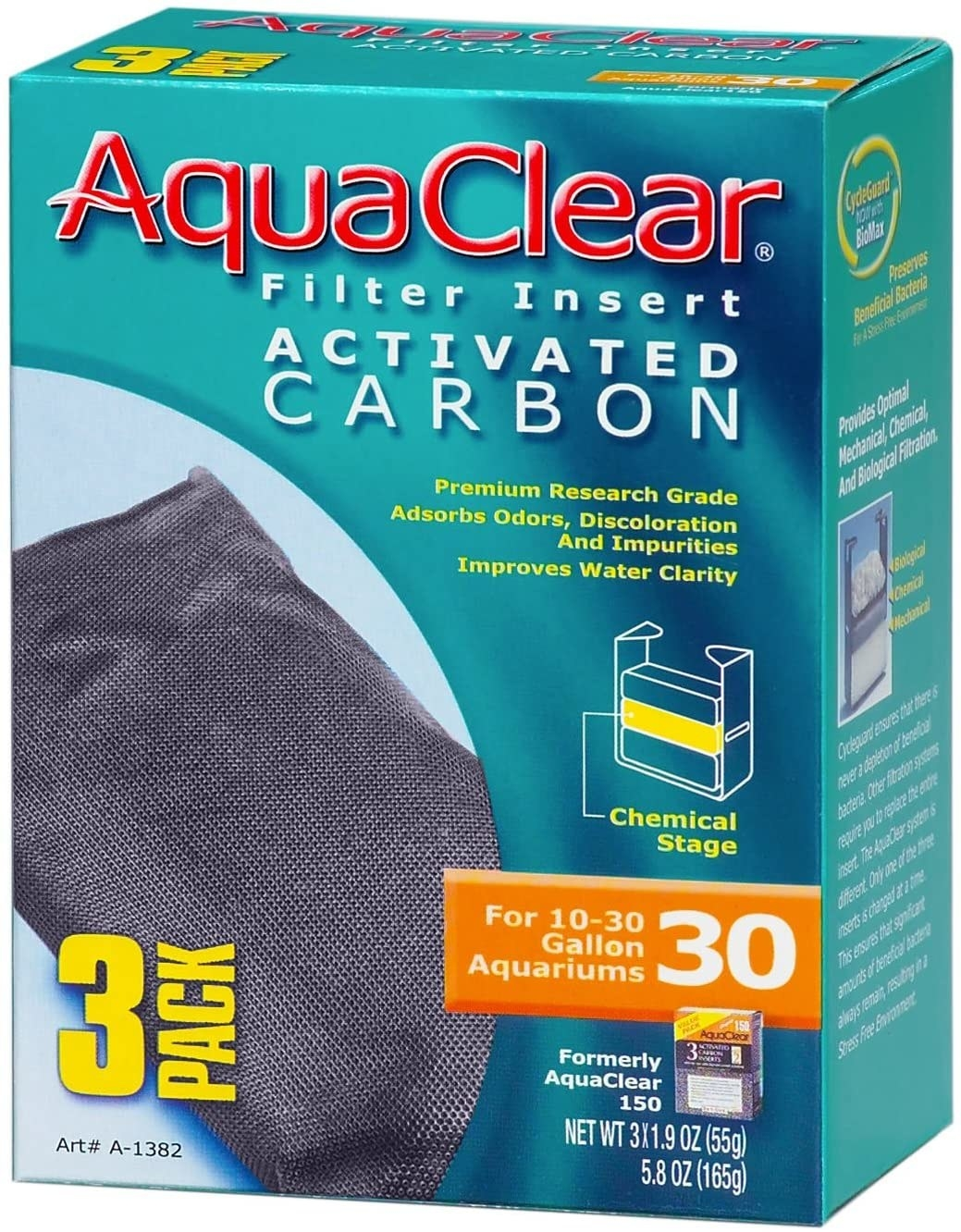 AquaClearFilter Insert Carbon Filter packaging for fish tank