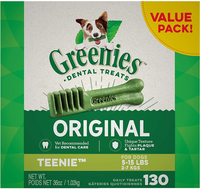 Green box of Greenies dental treats for teenie dogs