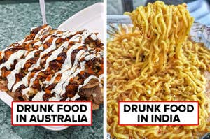 Side-by-side of a halal snack pack and a fork holding up Maggi noodles