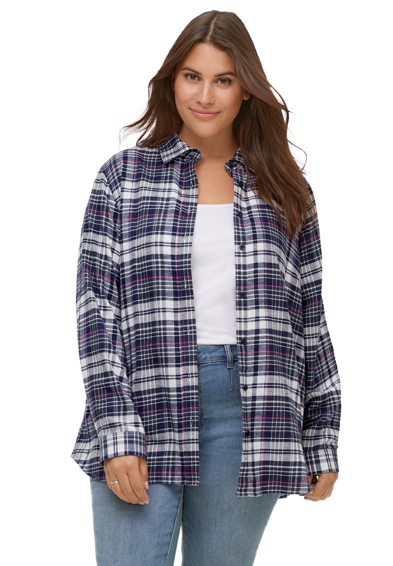 Model wearing an unbuttoned long sleeve navy and purple plaid shirt